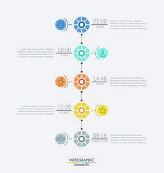 Infographic design layout 5 multicolored round vector