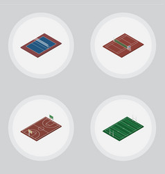 Isometric sport set of tennis american football vector
