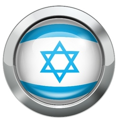 Israel flag metal button vector
