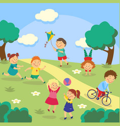 Kids children playing in yard garden park vector