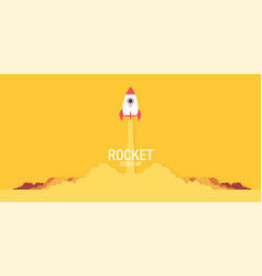 launch a rocket in sky flying above the vector image