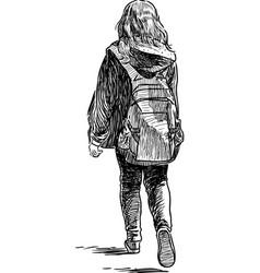 Leaving schoolgirl vector
