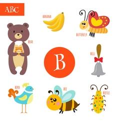 Letter b cartoon alphabet for children bear bee vector