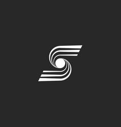 Letter s logo modern monogram converging lines vector