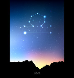 libra zodiac constellations sign with forest vector image