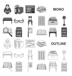 Library and bookstore monochrom icons in set vector