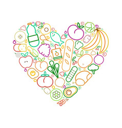 line food icons heart healthy eating love concept vector image