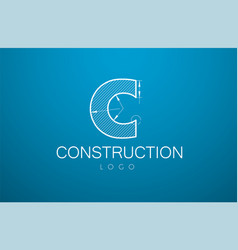 logo template letter c in the style of a vector image vector image