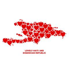love haiti and dominican republic map vector image