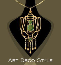 Luxurious art deco pendant with green gems emerald vector