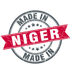 Made in niger red round vintage stamp vector
