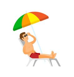 Man sunbathing male on holidays summer vacation vector
