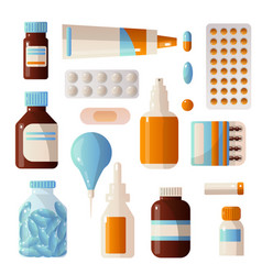 medical sets of drugs that contain various pills vector image