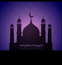 Mosque silhouette design in purple pattern vector