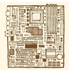 Motherboard hand drawn pen and ink vector