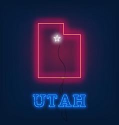 Neon map state utah on dark background vector