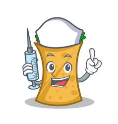Nurse kebab wrap character cartoon vector