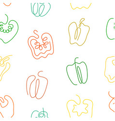 one line art style bell pepper seamless pattern vector image