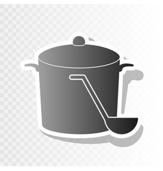 pan with steam sign new year blackish vector image