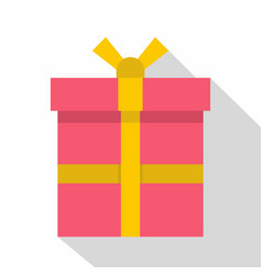 pink gift box with a yellow ribbon icon flat style vector image