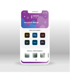 Purple and blue app gui design for designers vector