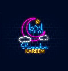 ramadan kareem banner in neon style night bright vector image