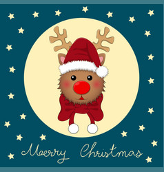 Reindeer santa with red scarf vector