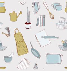 retro kitchen menu seamless pattern home food vector image