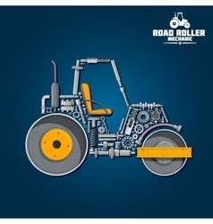 Road tandem roller icon with mechanical details vector