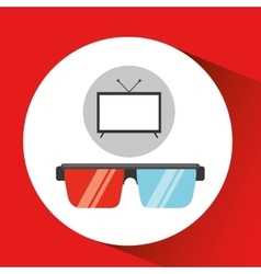 Screen tv movie glasses 3d vector
