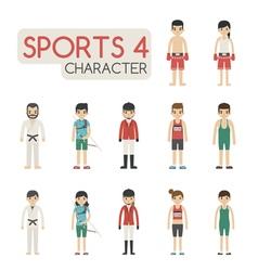 Set cartoon sport characters eps10 vector