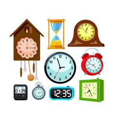 set clocks icons isolated on white background vector image