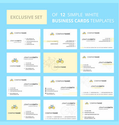 set of 12 cycle creative busienss card template vector image