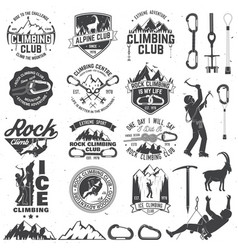 Set of rock climbing club badges with design vector