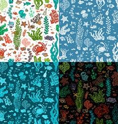 Set of seamless cartoon marine patterns vector image vector image