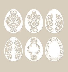 set stencil easter eggs vector image