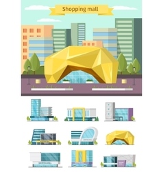 Shopping mall orthogonal concept vector