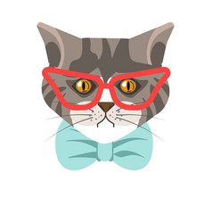 Siberian cat with red glasses and blue tie vector