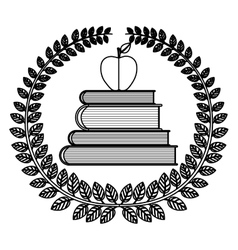 Silhouette crown of leaves with school books with vector