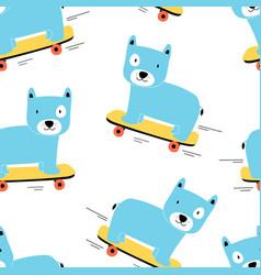Skater dog seamless pattern print design vector