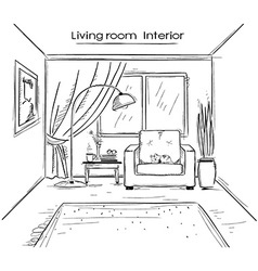Sketchy of living room interior black hand d vector image