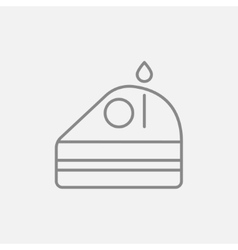 Slice of cake with candle line icon vector image