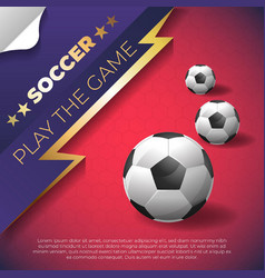 soccer poster on red background with ball vector image