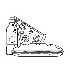 Soda bottle and pizza with sandwich black and vector