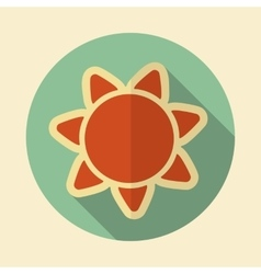 Sun retro flat icon with long shadow vector