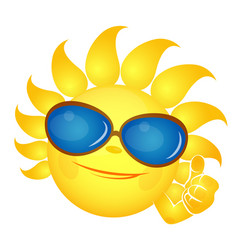 sun with a smile in glasses vector image