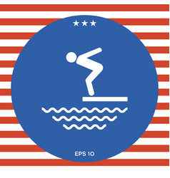 swimmer on a springboard jumping into the water - vector image