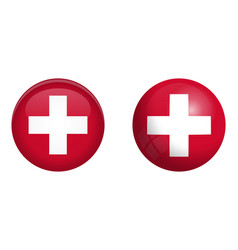 switzerland flag under 3d dome button and on vector image