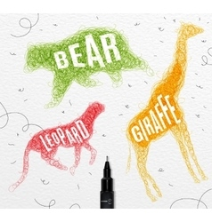 Tangled line bear color vector image