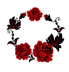 Three red roses in a bouquet in ukrainian style vector